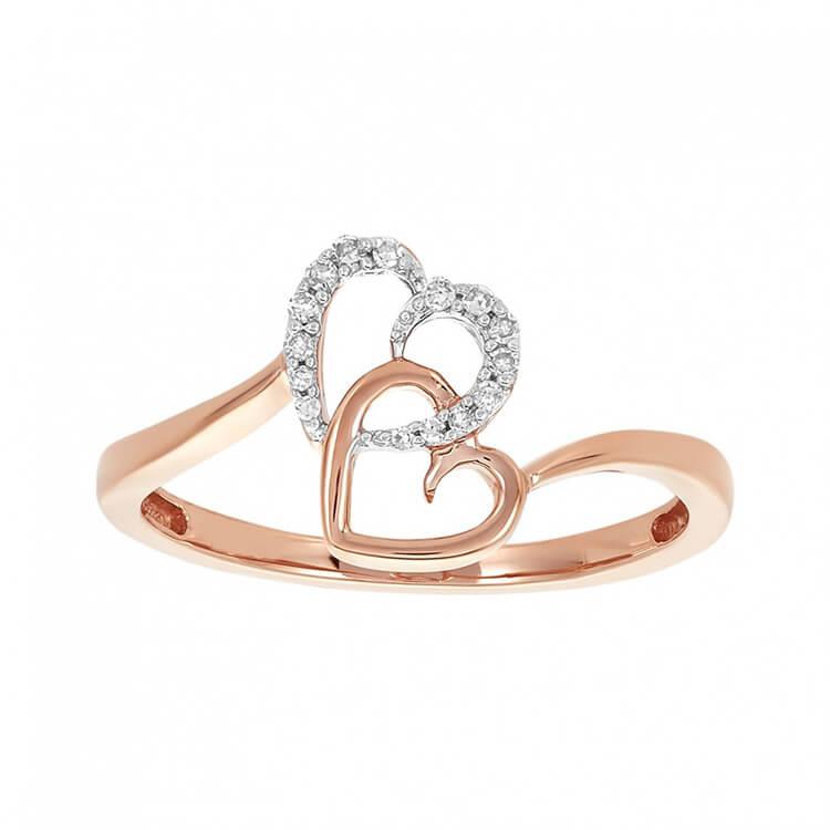 Nhẫn vàng hồng 10k hình trái tim