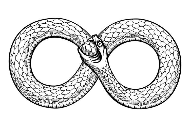 thời cổ đại biểu tượng vô cực hình rắn cắn đuôi